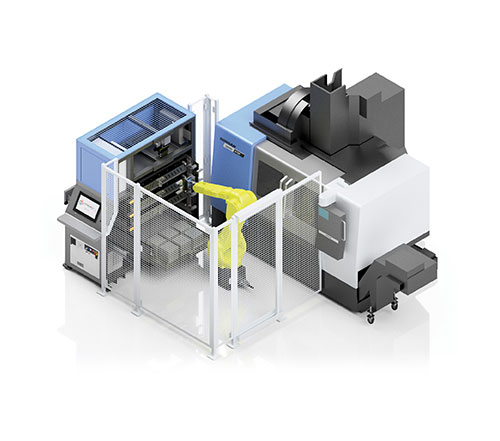 SYNERGi Premier automated manufacturing cell featuring a Doosan machining centre (front load).