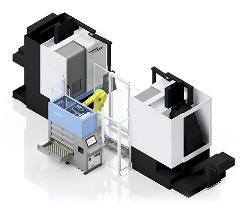 SYNERGi Premier automated manufacturing cell featuring two Doosan machines (vertical turning lathes).